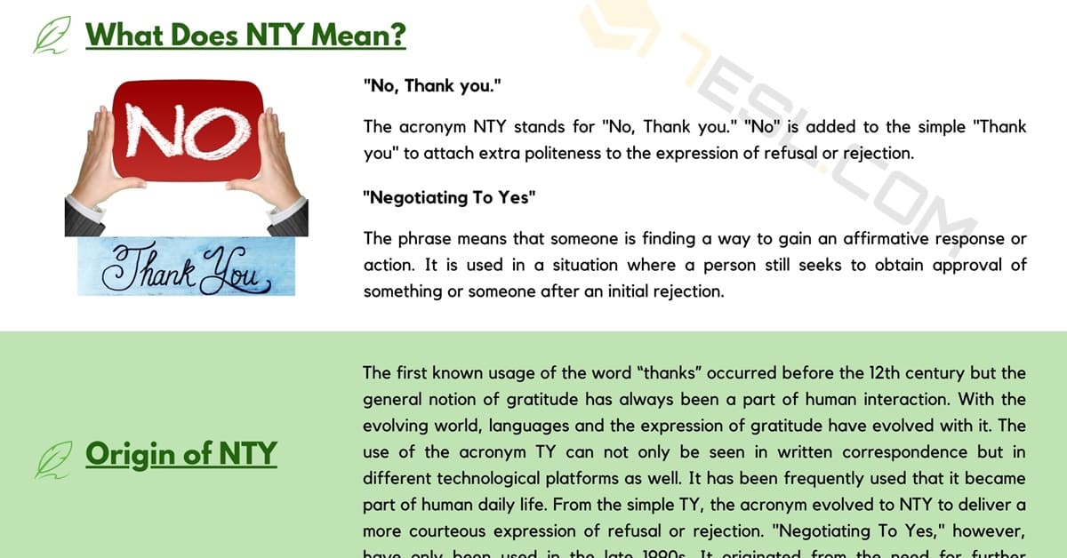 NTY Meaning: What Does NTY Mean and Stand for? 1