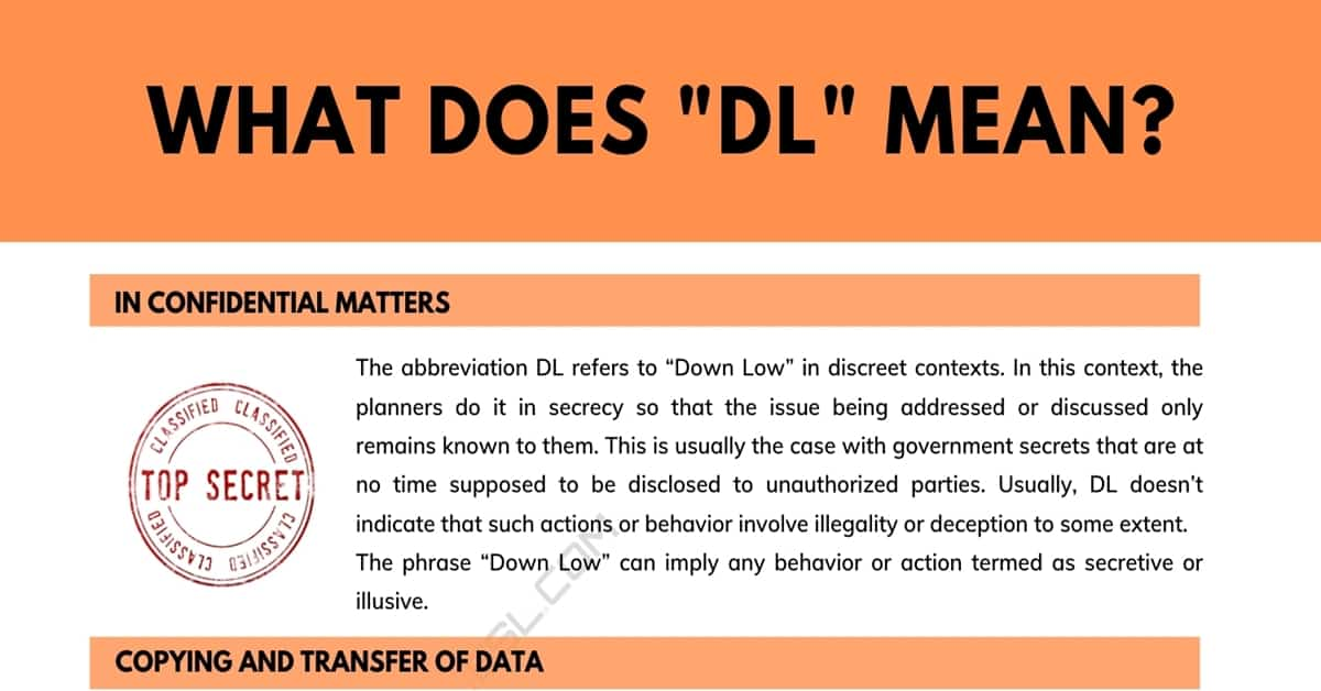 """DL"" Meaning: What Does ""DL"" Mean in Different Contexts 1"