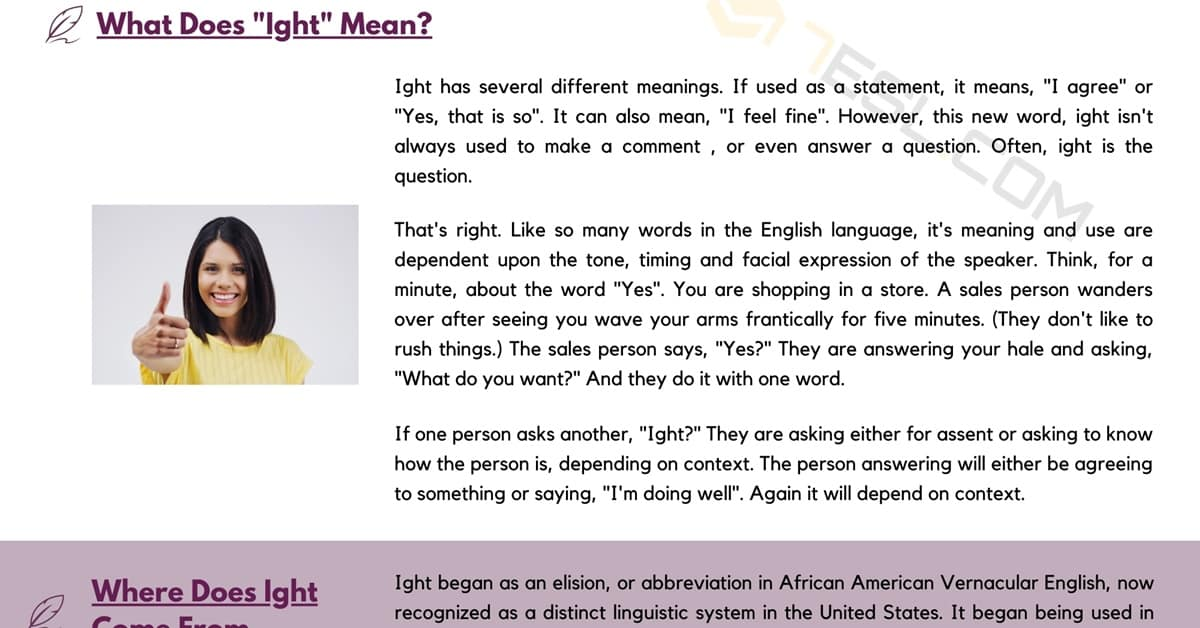 Ight Meaning | What Does Ight Mean in Speech and Texting? 1