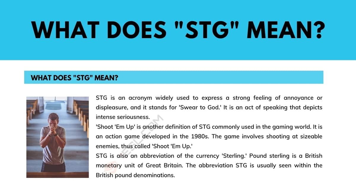 """STG"" Meaning: What Does STG Mean and Stand for? 1"