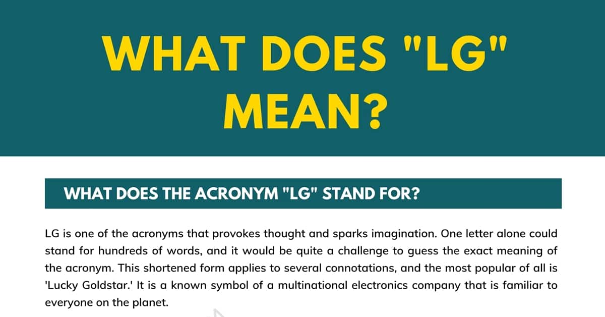 """""""LG"""" Meaning 