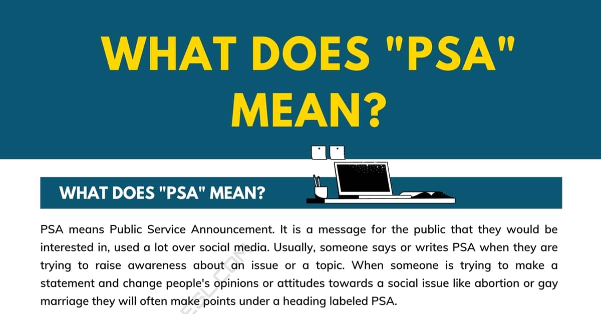 """What Does """"PSA"""" Mean, and How Do You Use It? 1"""