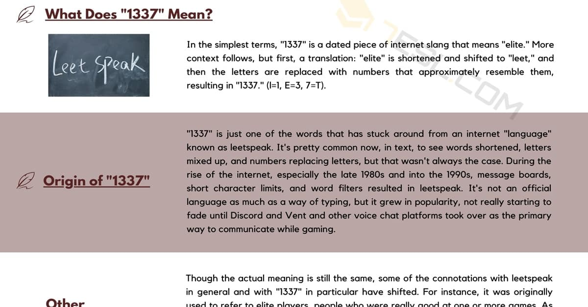 1337 Meaning | Origin and Examples of this Internet Slang Term 1