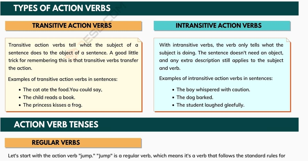 Action Verb | Examples of Action Verbs Used in English Grammar 1