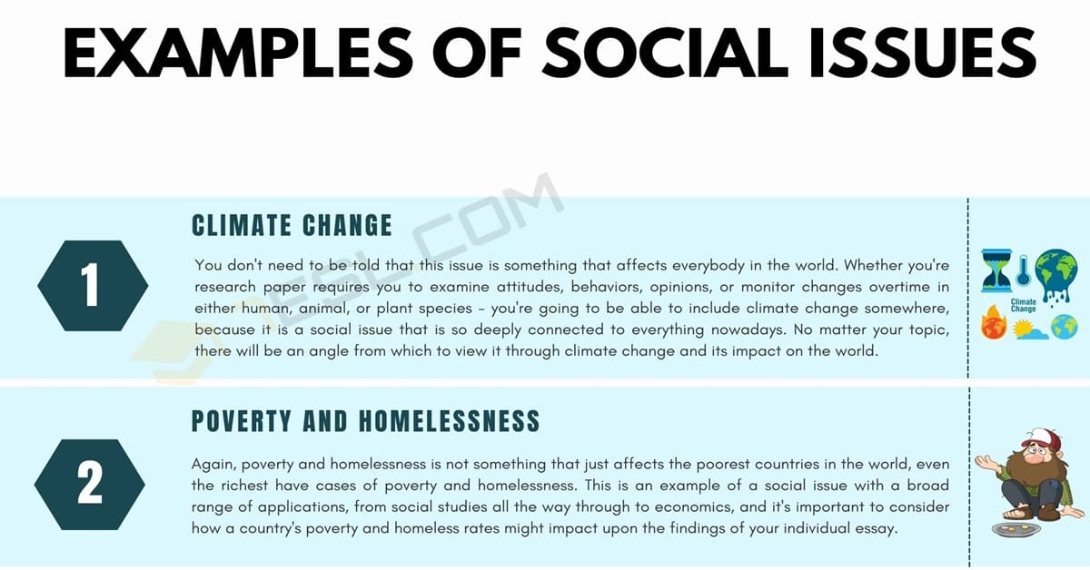 Social Issues: 8 Common Examples of Social Issues for Your Essays 1