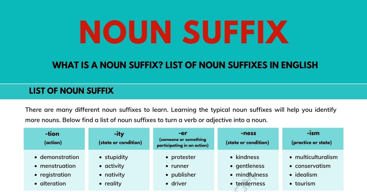 Noun Suffix | List of Noun Suffixes with Easy Examples 1
