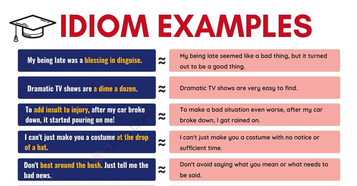 Idiom Examples | 40 Popular Examples of Idioms in English 1