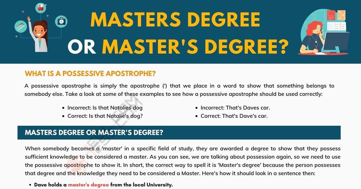 Masters Degree or Master's Degree: Avoid Looking Foolish! 1