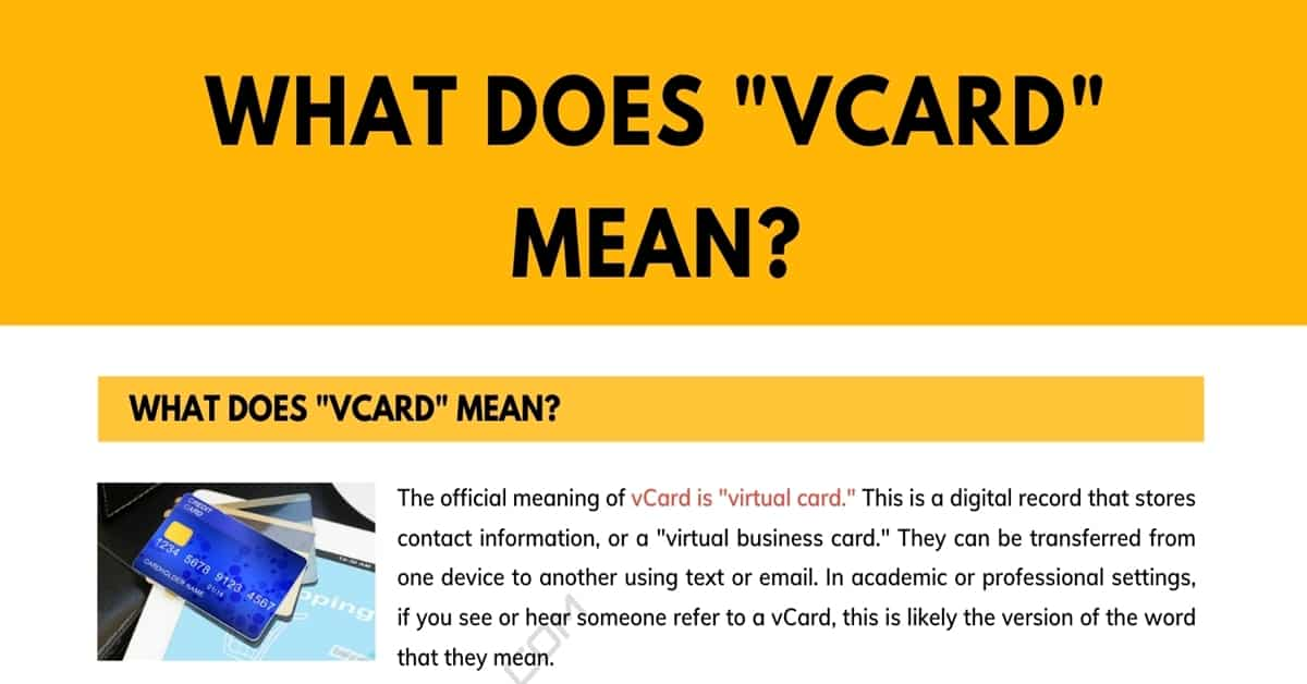 """""""vCard"""" Meaning: What is a vCard? 1"""