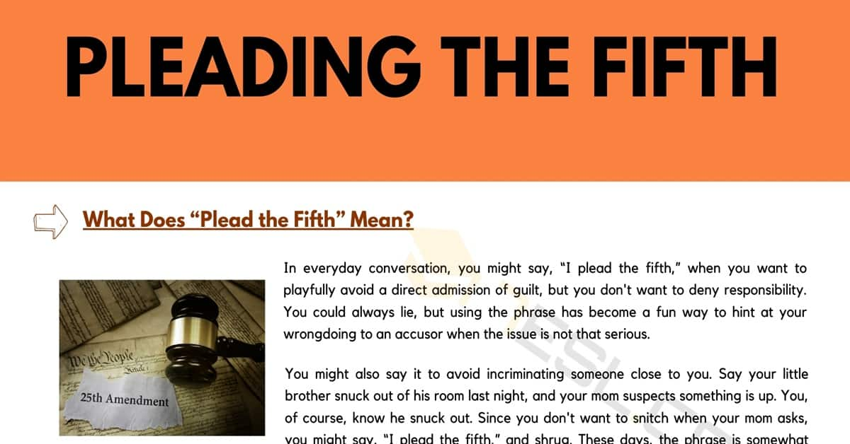 "Plead the Fifth | What Does ""I plead the fifth"" Mean? 1"