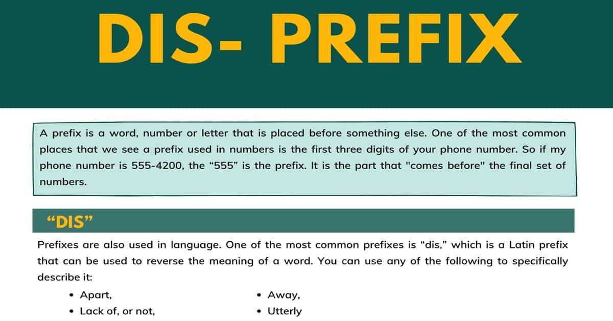 Dis Prefix | Common Words with the Prefix Dis 1