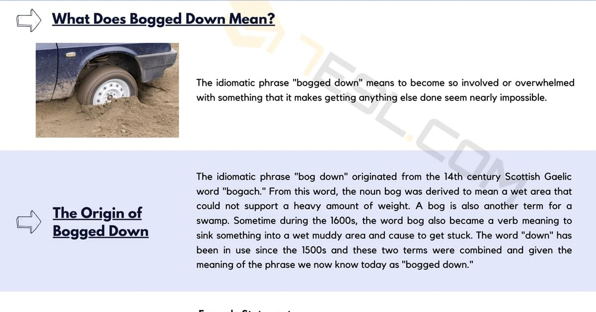 """""""Bogged Down"""" Meaning with Helpful Examples 1"""