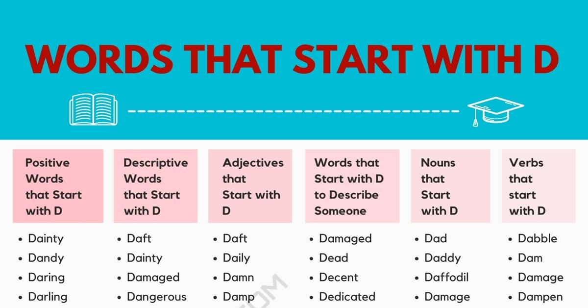 Words that Start with D | 2200+ D Words | Wonderful Words Starting with D 1