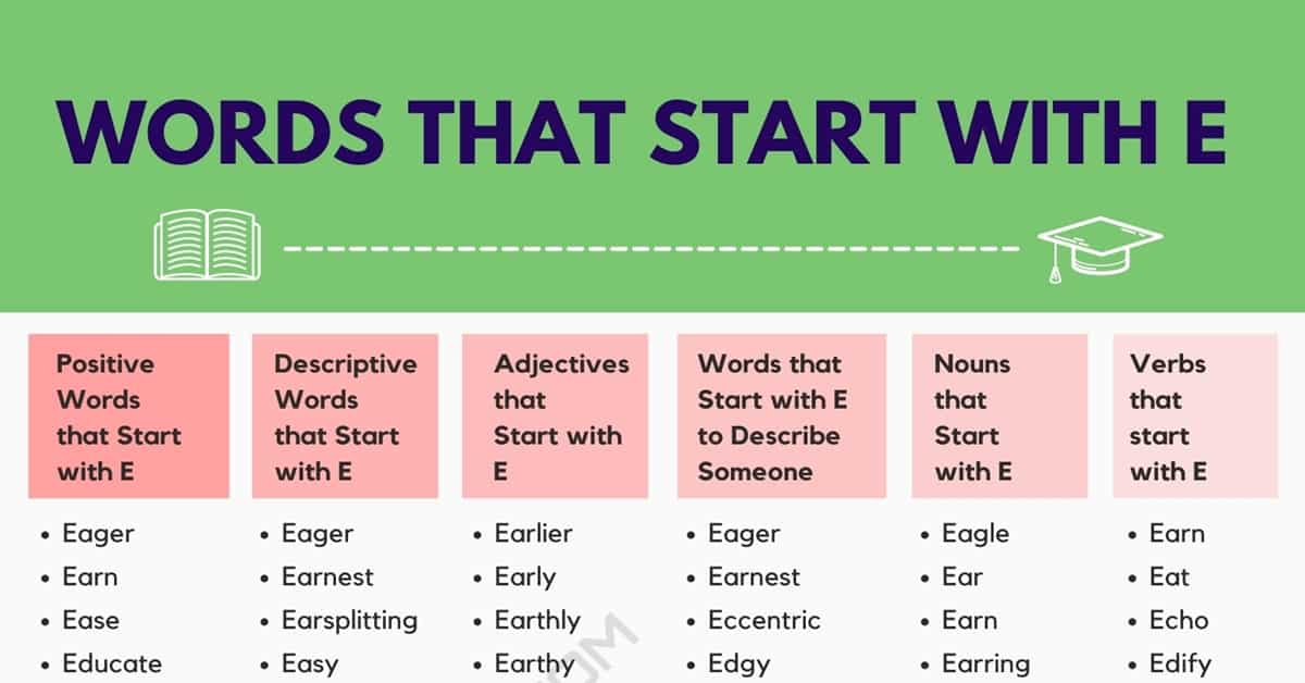 Words that Start with E | 1700+ E Words | Common Words Starting with E 1