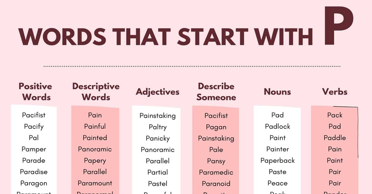 Words that Start with P | 1000+ P Words | Words Starting with P 1