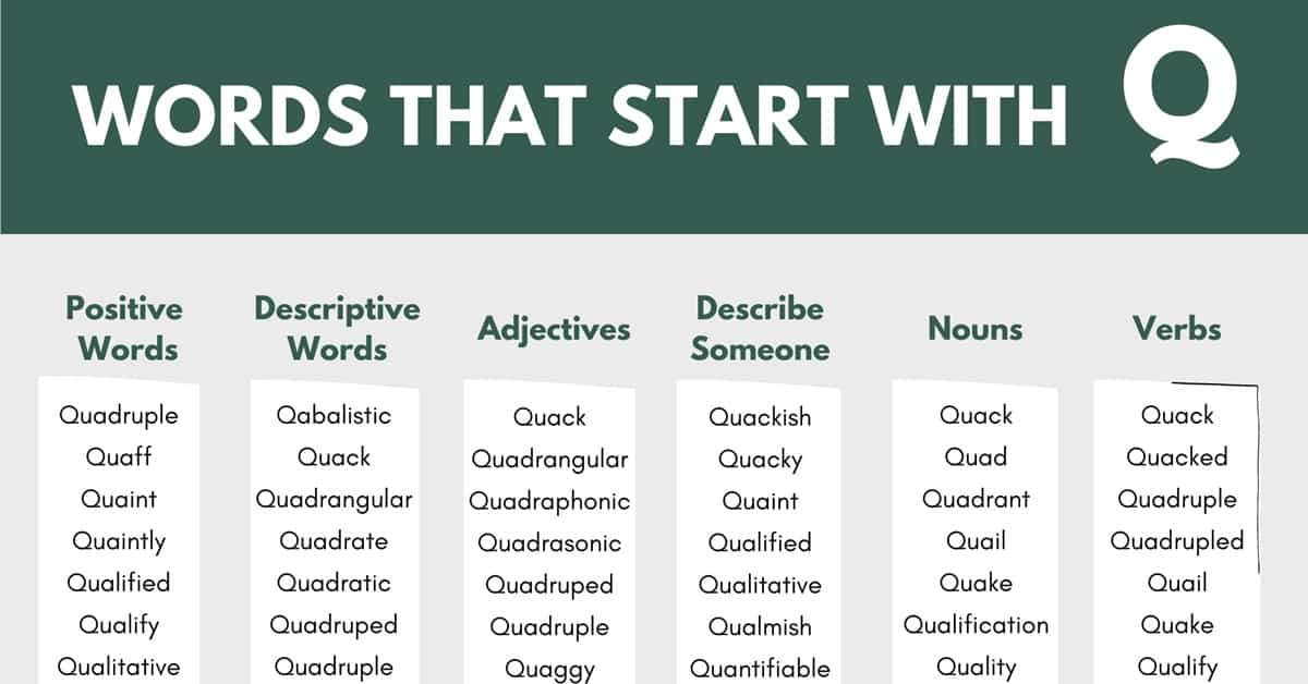 Words that Start with Q | 200+ Q Words | Words Starting with Q 1