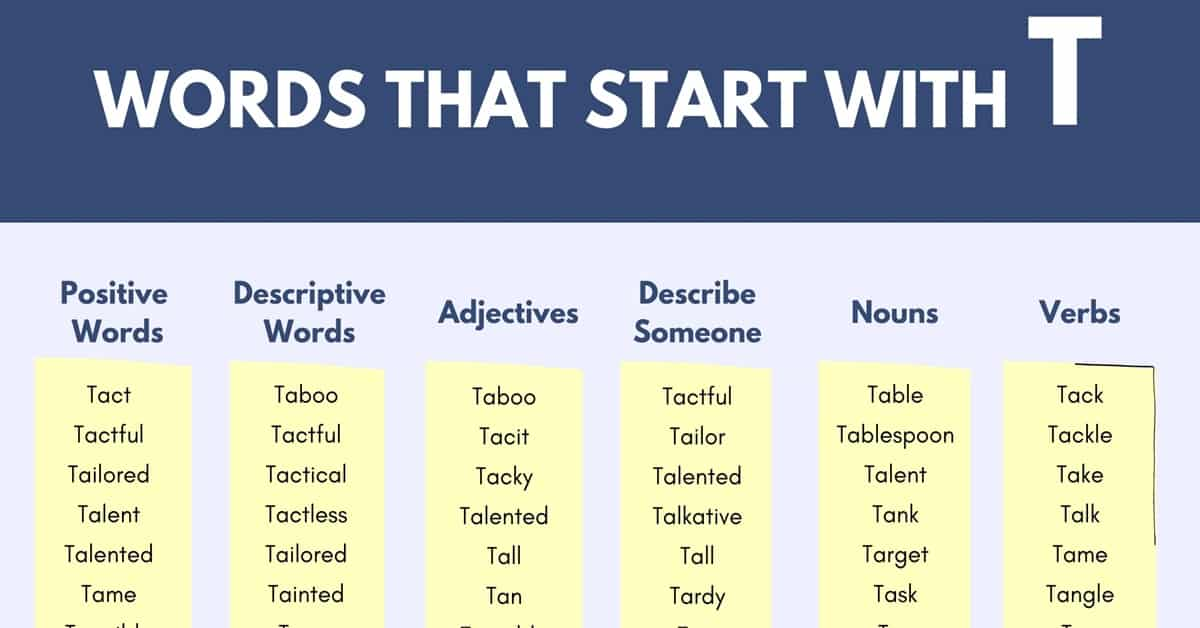 Words that Start with T | 1000+ T Words | Words Starting with T 1