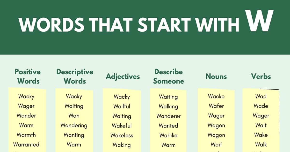 Words that Start with W | 900+ W Words | Words Starting with W 1