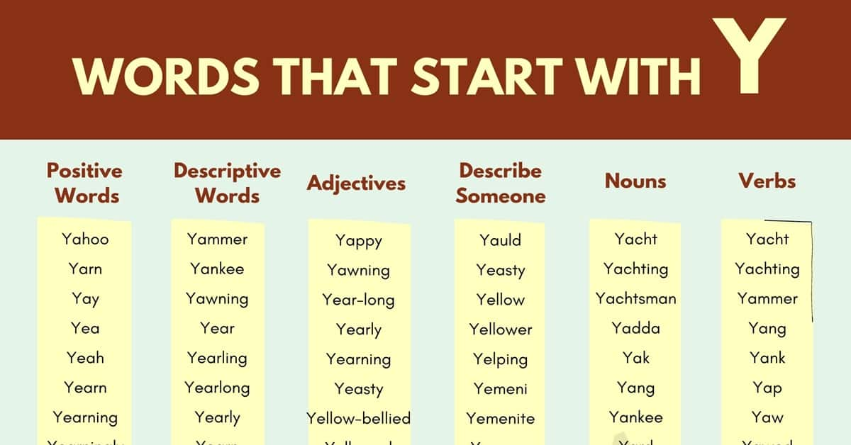 Words that Start with Y | 150+ Y Words | Words Starting with Y 1