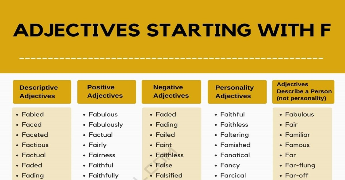 Adjectives that Start with F | 1100+ Adjectives Starting with F 1