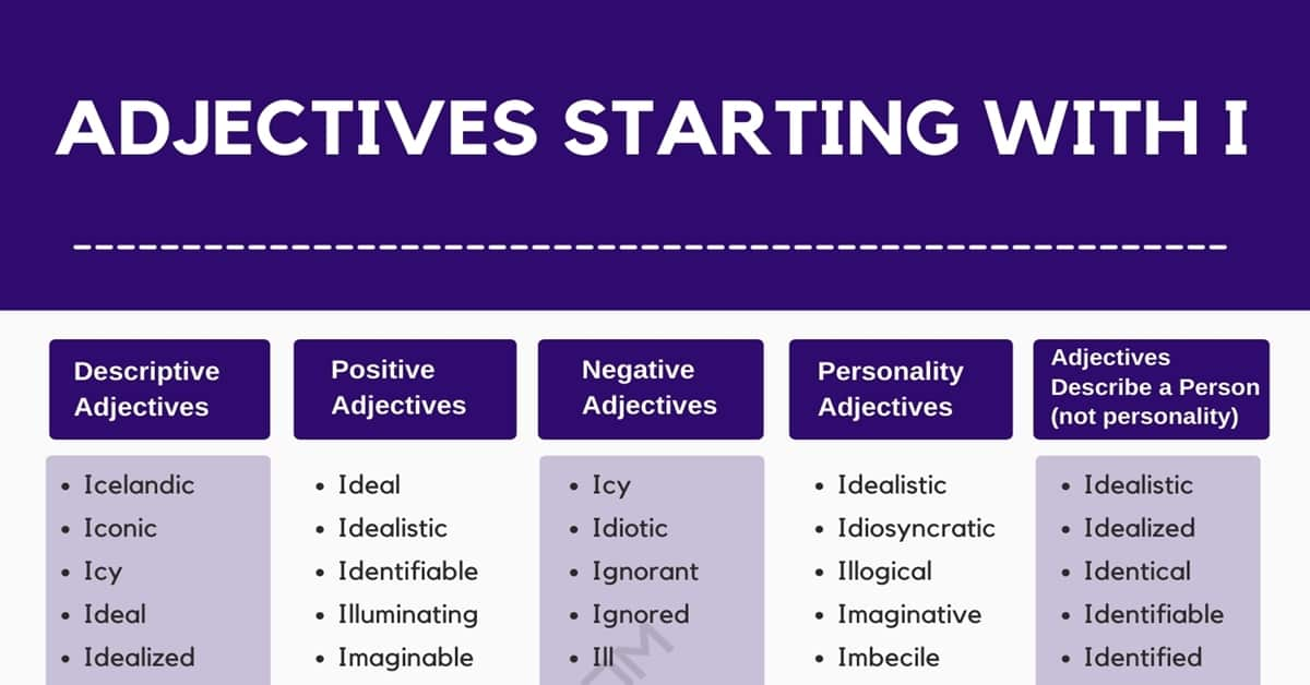 Adjectives that Start with I | 1000+ Adjectives Starting with I 1