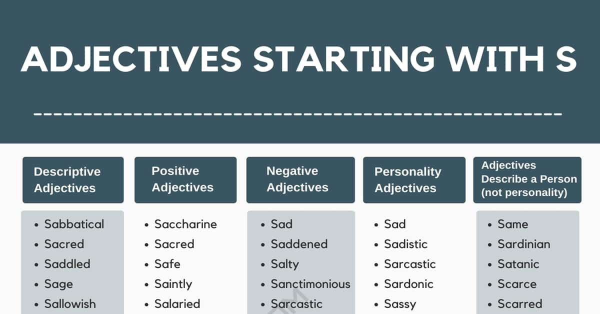 Adjectives that Start with S: List of 550+ S Adjectives in English 1