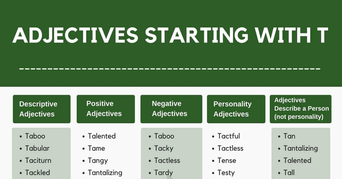 Adjectives that Start with T: 500+ Adjectives Starting with T in English 1