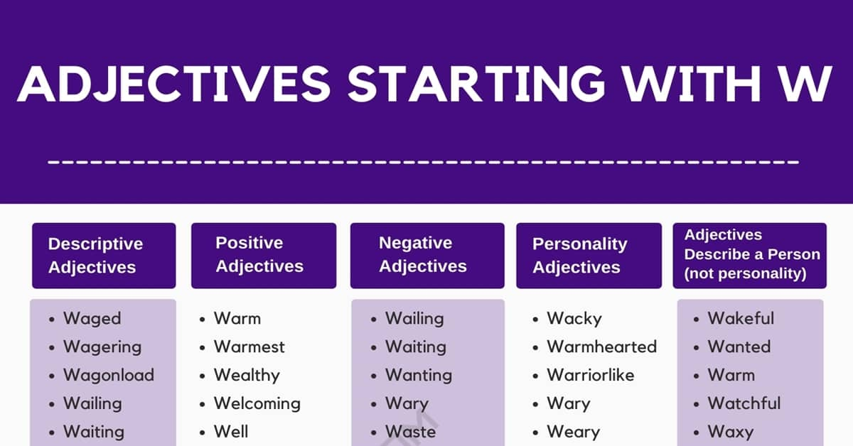 Adjectives that Start with W: 550+ Adjectives Starting with W in English 3