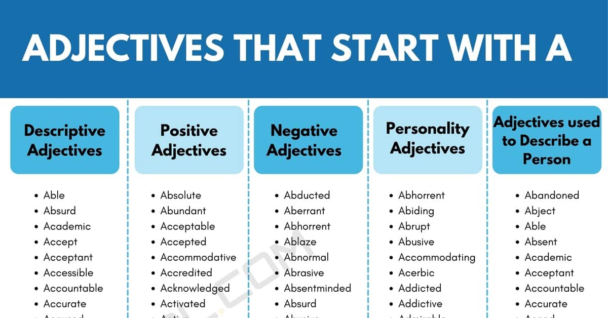Adjectives that Start with A: 1600+ A Adjectives in English 1