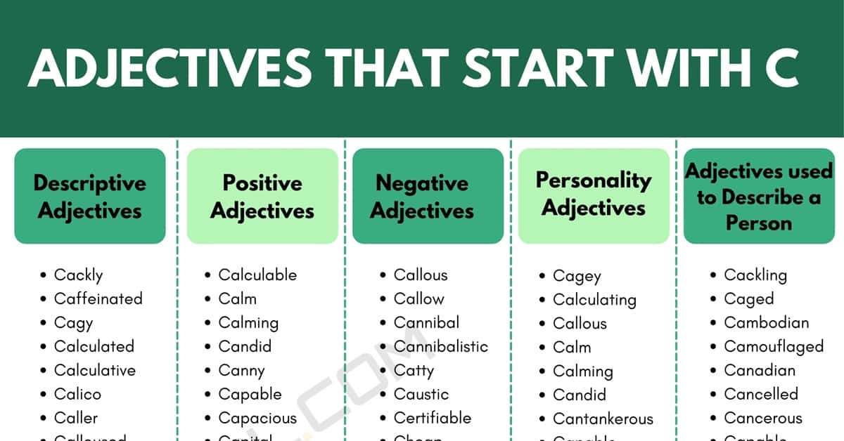 Adjectives that Start with C: 1000+ C Adjectives in English 1
