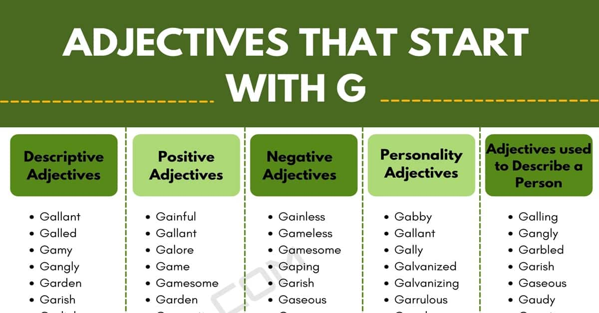 Adjectives that Start with G: 500+ G Adjectives in English 1