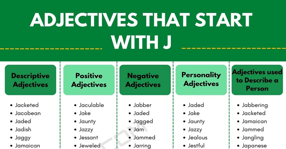 Adjectives that Start with J: 100+ J Adjectives in English 1