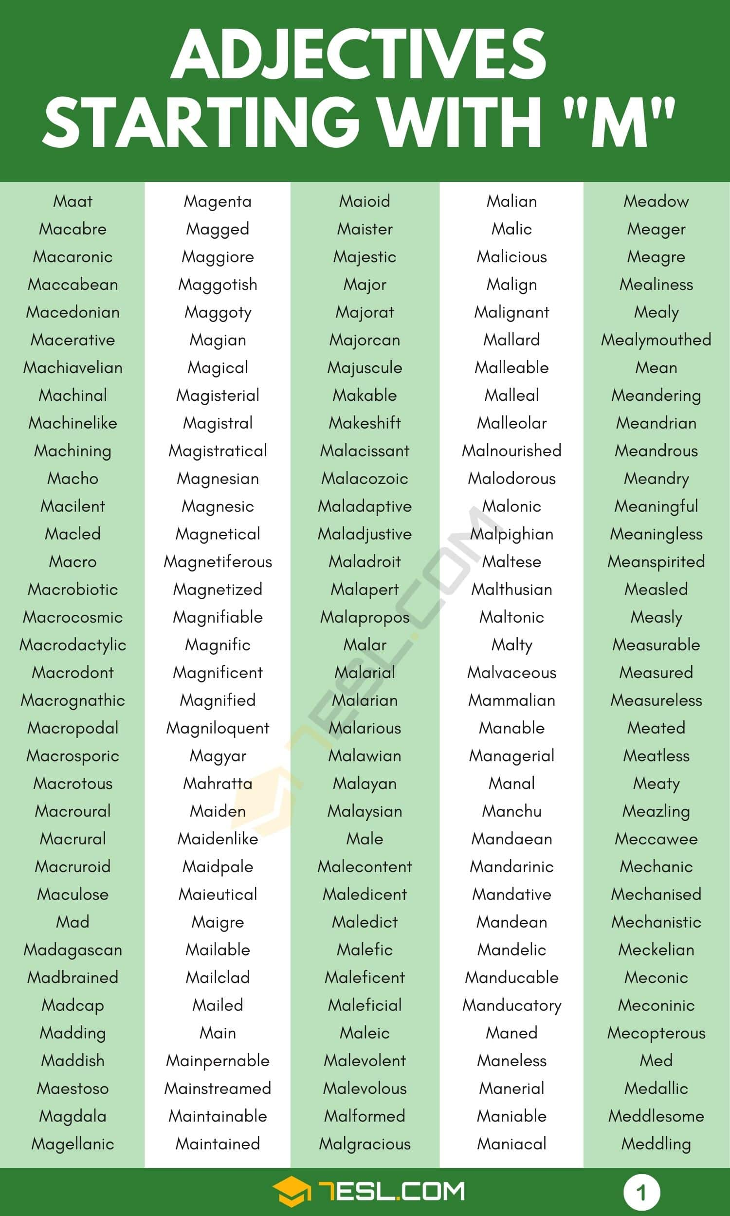 Adjectives that Start with M