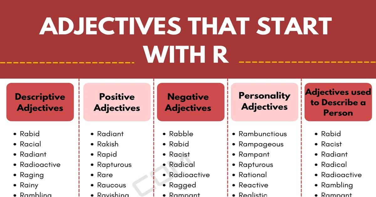 Adjectives that Start with R: 700+ R Adjectives in English 1