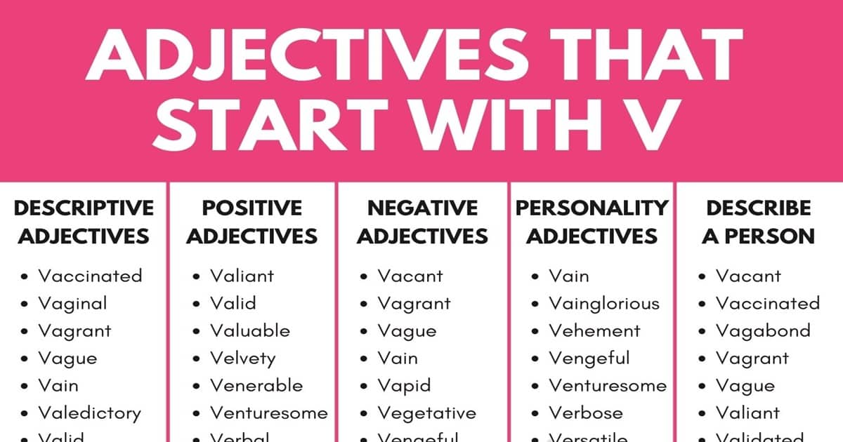 Adjectives that Start with V