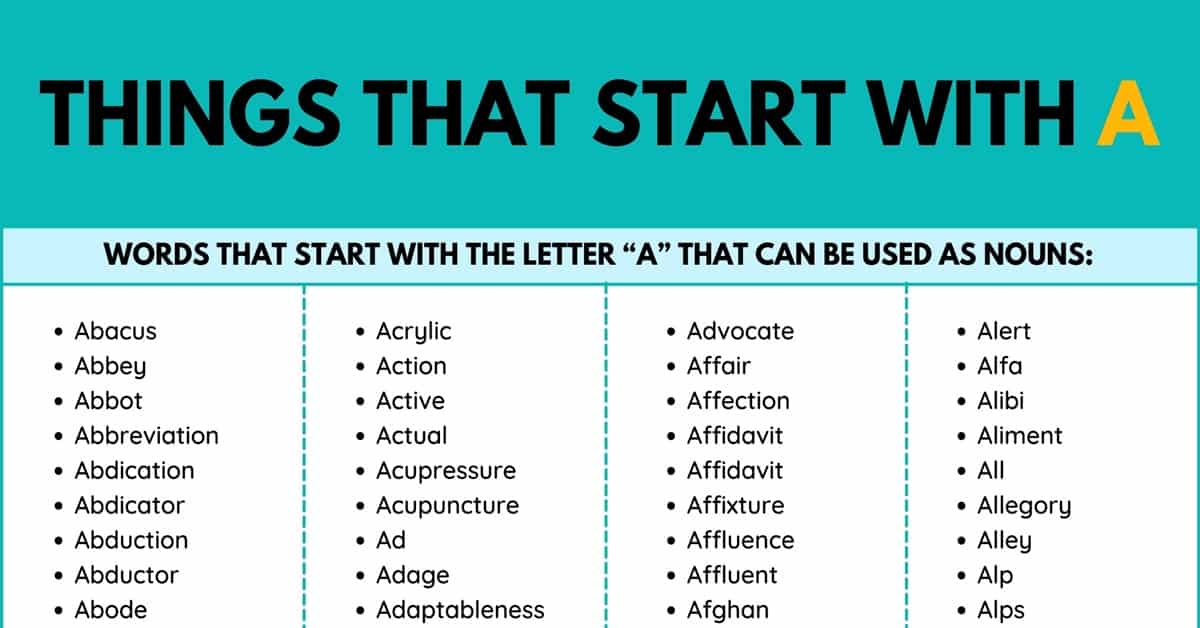 Things that Start with A | Nouns that Start with A 1
