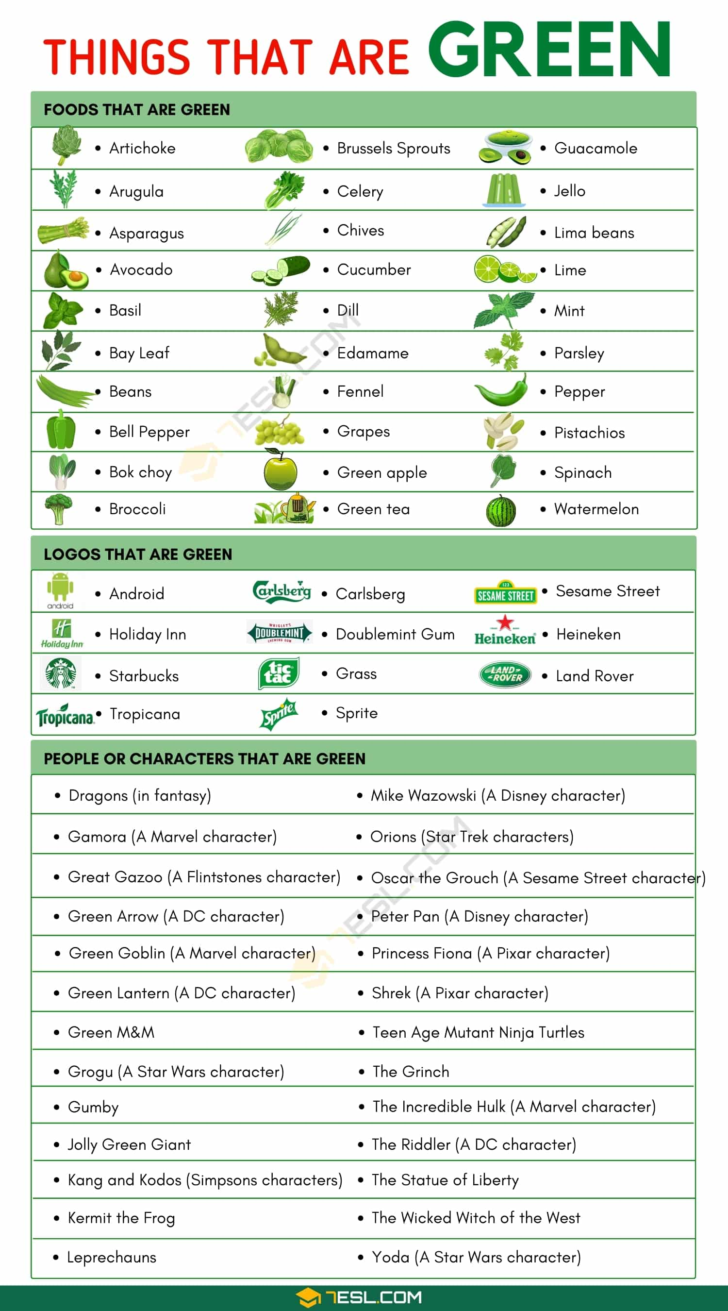 Things that are Green: List of 160+ Things that Have Green Color