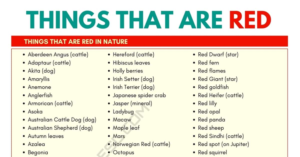 Things that Are Red: List of 150+ Red Things that You May Not Know 1