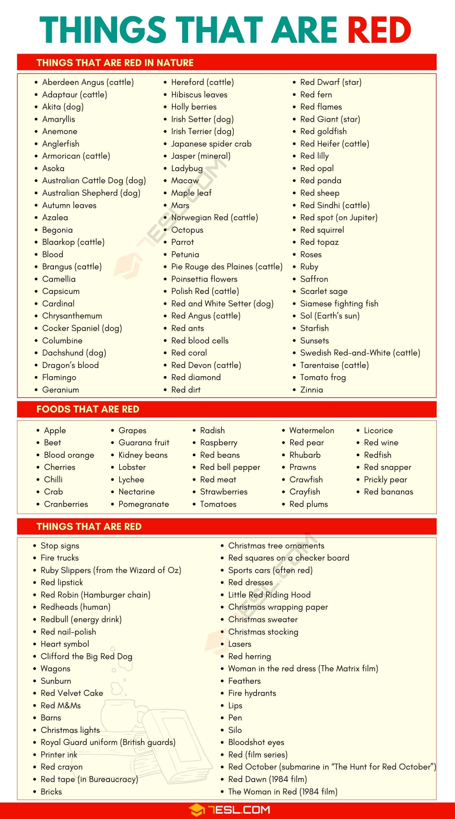 Things that are Red: List of 150+ Things that are Red