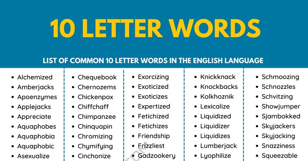 10 Letter Words | 270+ Common Ten Letter Words in English 2