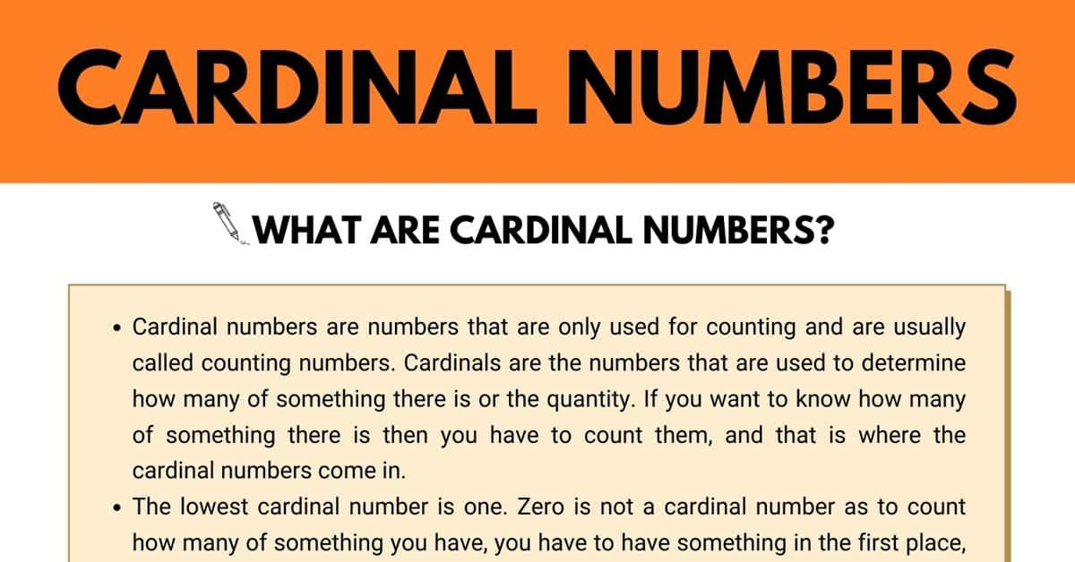 Cardinal Numbers | Cardinal Numbers vs. Ordinal Numbers 1