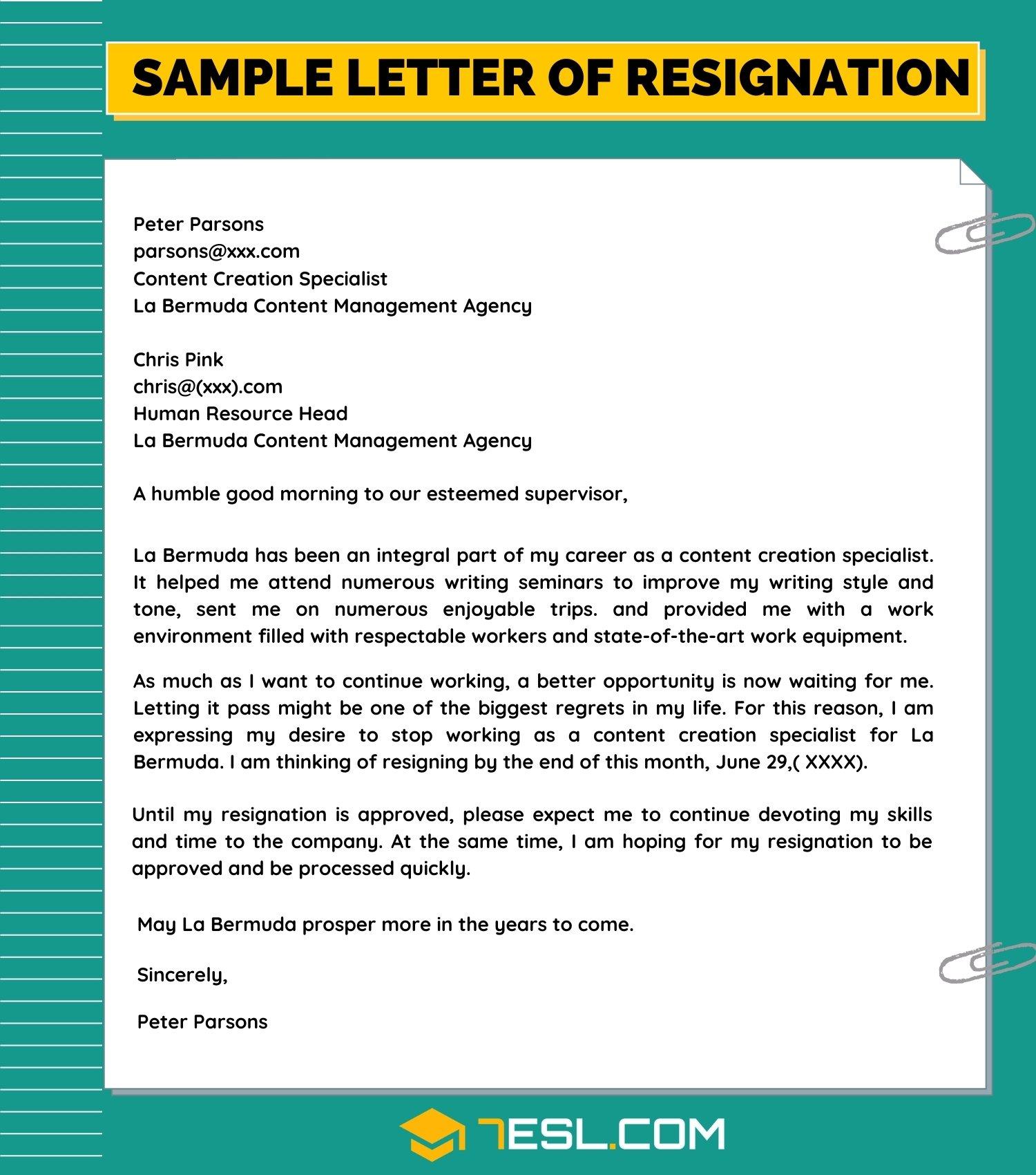 Sample of a Resignation Letter
