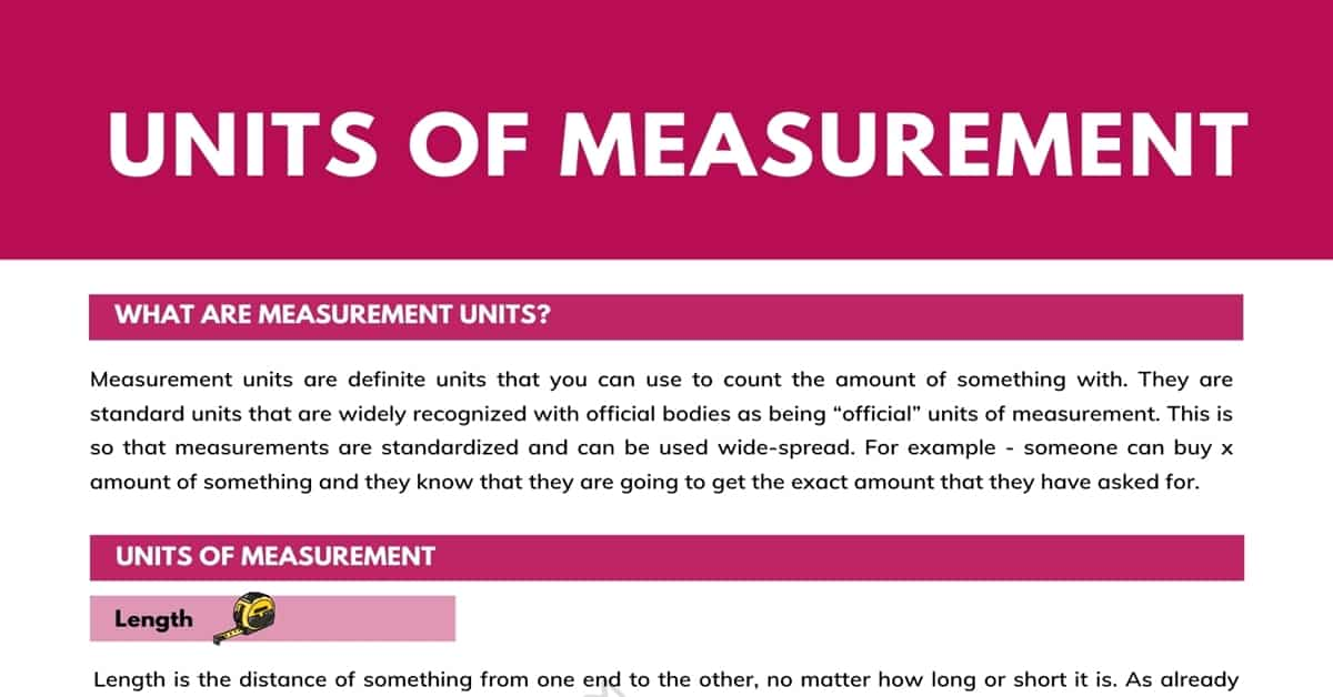 Units of Measurement: Length, Weight, Capacity (Volume) and Time 1