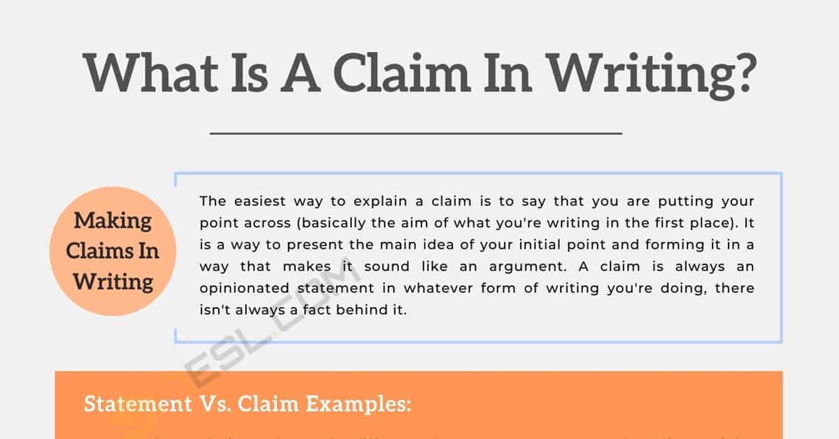 What Is A Claim In Writing? Statement vs. Claim Examples 1