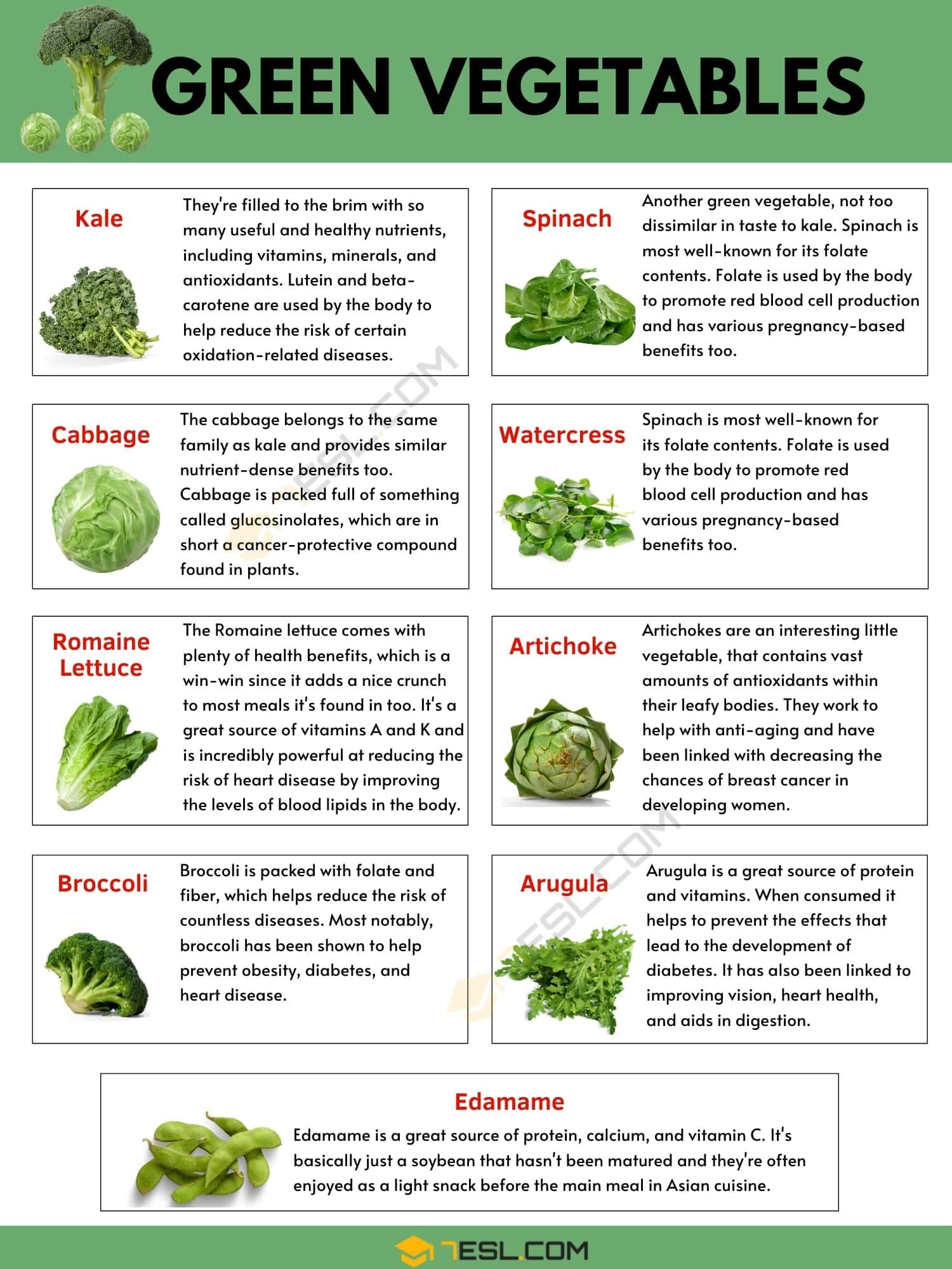 Green Vegetables: List of 33 Best Green Vegetables for Your Health