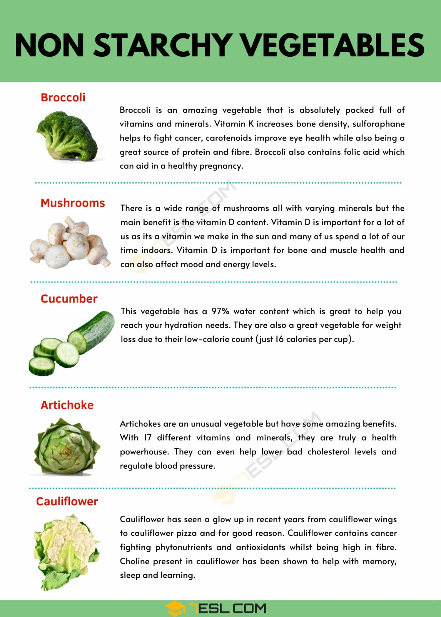 Top 5 Non Starchy Vegetables & Their Amazing Benefits
